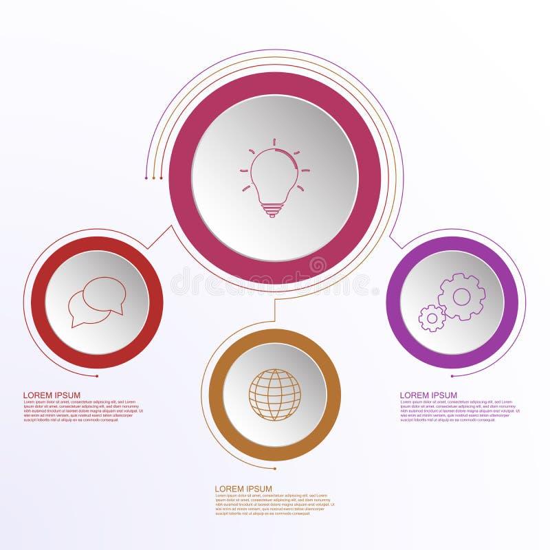 Drie stappen bedrijfsdieinfographics met overzichtspictogrammen door lijnen worden verbonden royalty-vrije illustratie