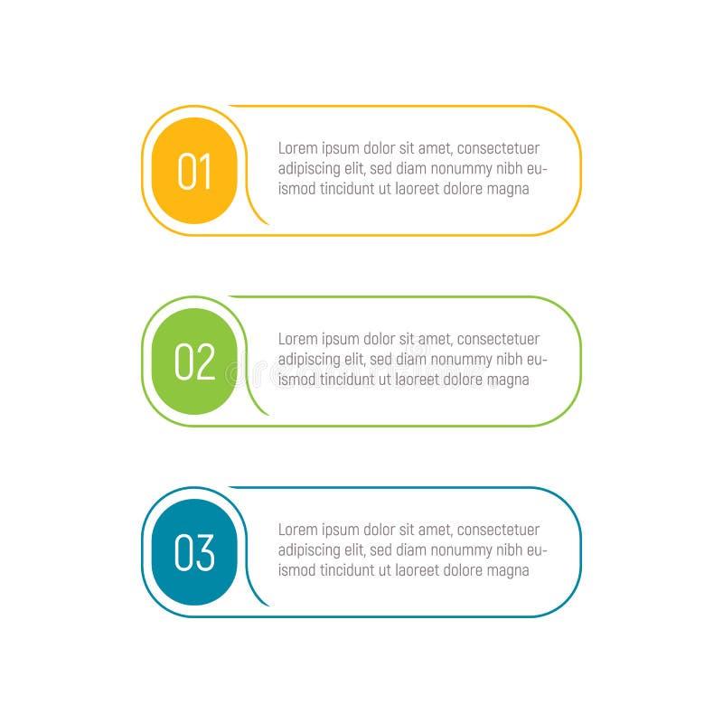 Drie stappen, infographic elementen, stapknoop, vectorillustratie, Webmalplaatje App interfaceelement stock illustratie