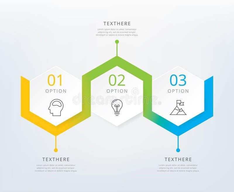 Drie stappen informatie-grafiek royalty-vrije illustratie