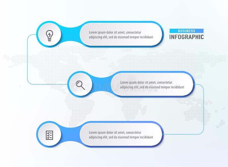 Drie stappenwerkschema Het diagram van de Infographgrafiek Chronologieelementen Bedrijfsconcepten infographic malplaatje Vector stock illustratie