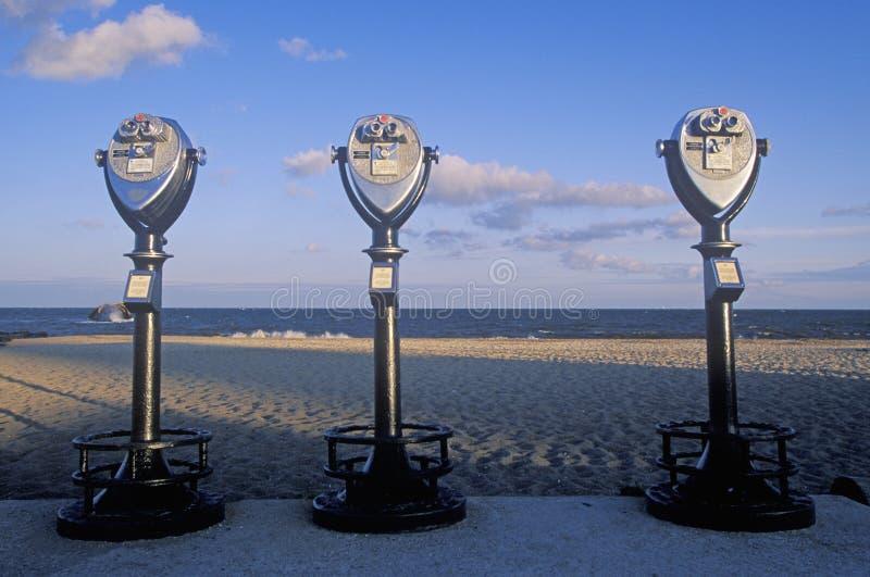 Drie stationaire kijkers voor toeristen in Kaap Mei, New Jersey royalty-vrije stock fotografie