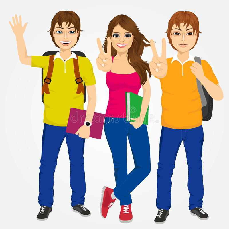 Drie studenten die overwinningsteken maken royalty-vrije illustratie