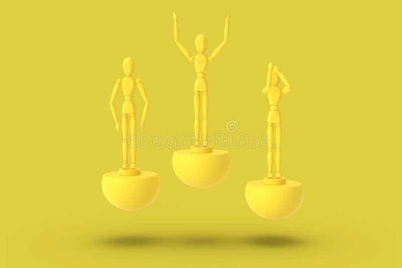 Drie stuk speelgoed mens van gele kleur op een sporten abstract voetstuk Minimaal concept: winnaar, verliezer 3d geef terug vector illustratie