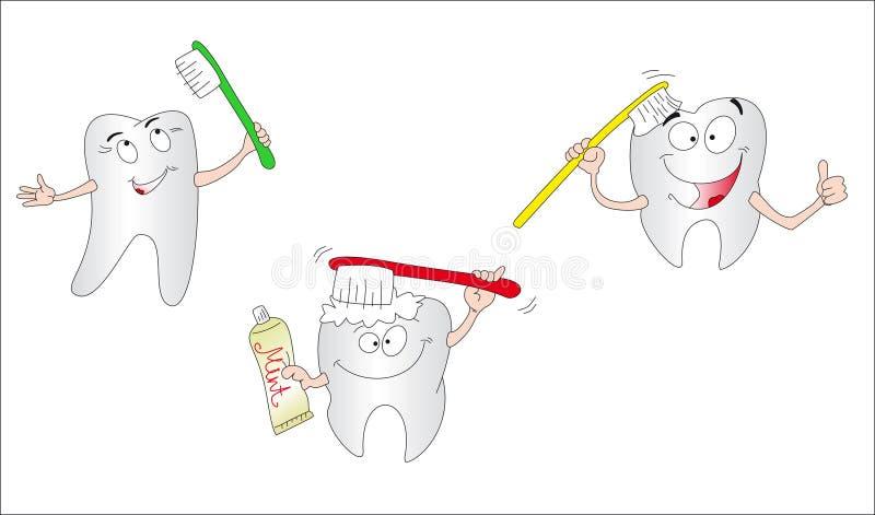 Drie tanden royalty-vrije illustratie