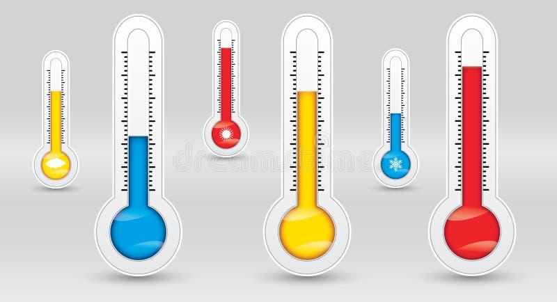 Drie thermometers met verschillende temperaturen, meten kenmerkend, koud, middelgroot, heet vector illustratie