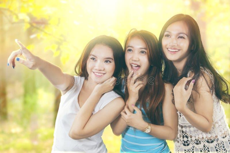 Drie tieners die in openlucht exemplaarruimte kijken stock fotografie