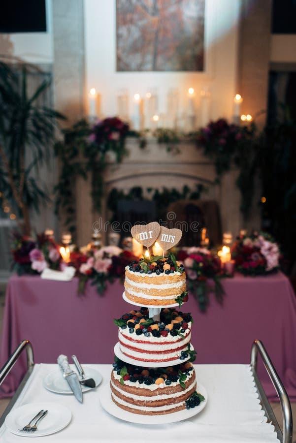 Drie-tiered naakte huwelijkscake met bosbessen stock afbeelding
