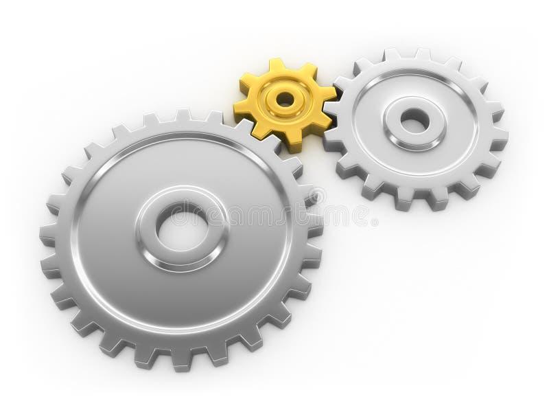 Drie toestellen die samenwerken. stock illustratie