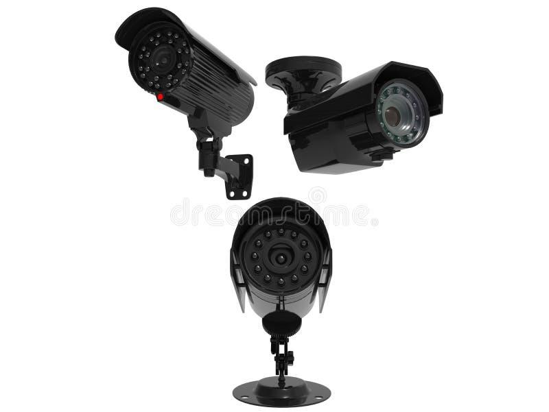 Drie toezichtcamera's vector illustratie