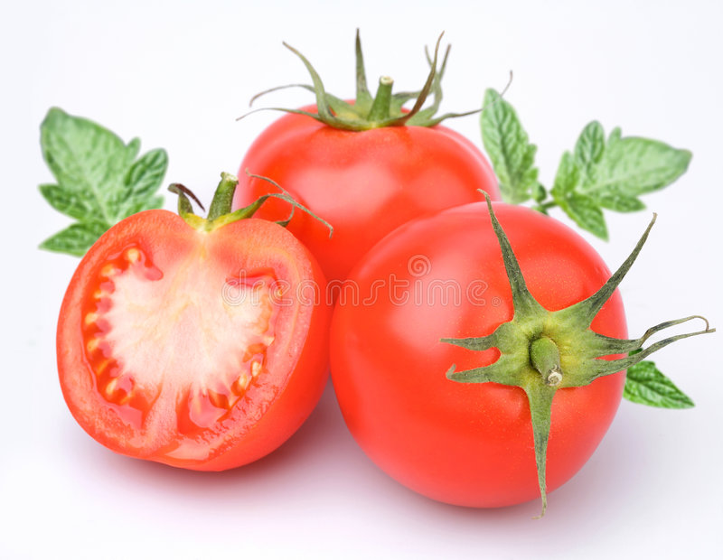 Drie tomaten stock afbeelding