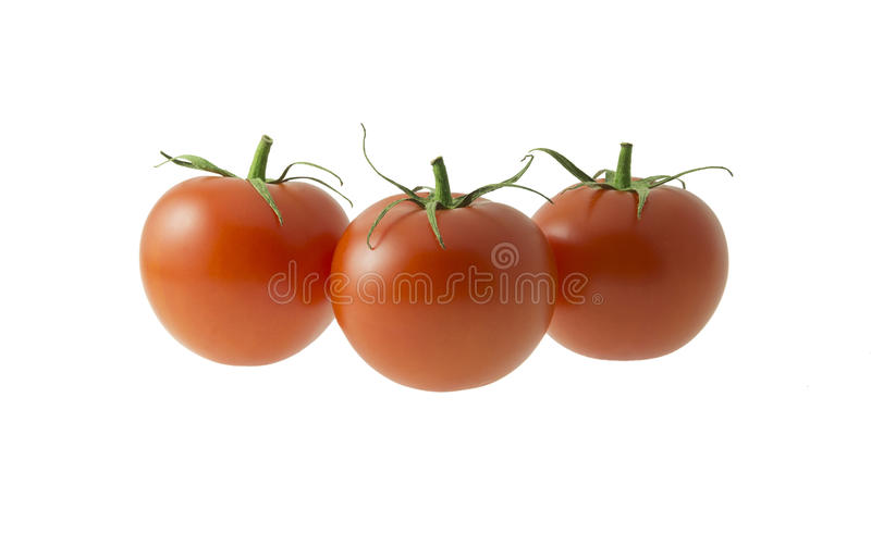 Drie tomaten op witte achtergrond royalty-vrije stock afbeelding