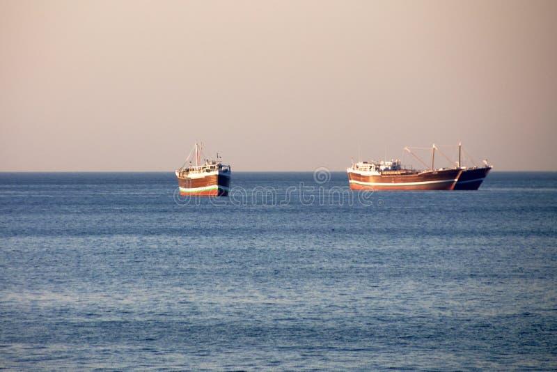 Traditionele omani schepen in Khasab Oman stock foto's