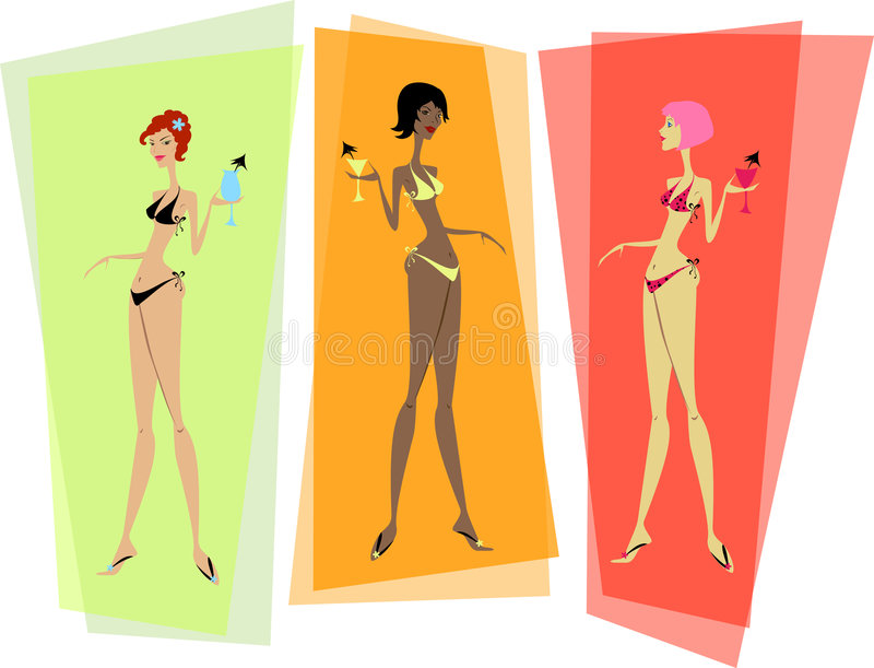 Drie trendy bikinimeisjes vector illustratie