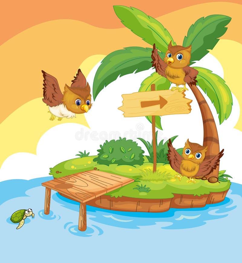 Drie uilen die rond het eiland vliegen vector illustratie
