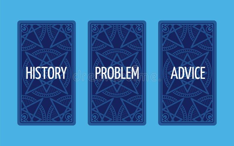 Drie uitgespreid kaarttarot De oplossing van het probleem royalty-vrije illustratie