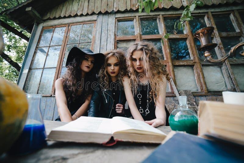 Drie uitstekende heksen voeren magisch ritueel uit stock fotografie