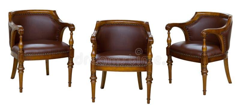 Drie uitstekende stoelen stock afbeelding