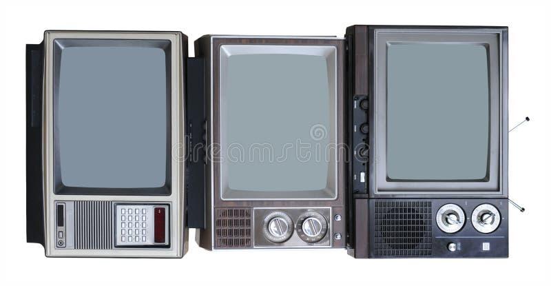 Drie Uitstekende TVs royalty-vrije stock afbeelding
