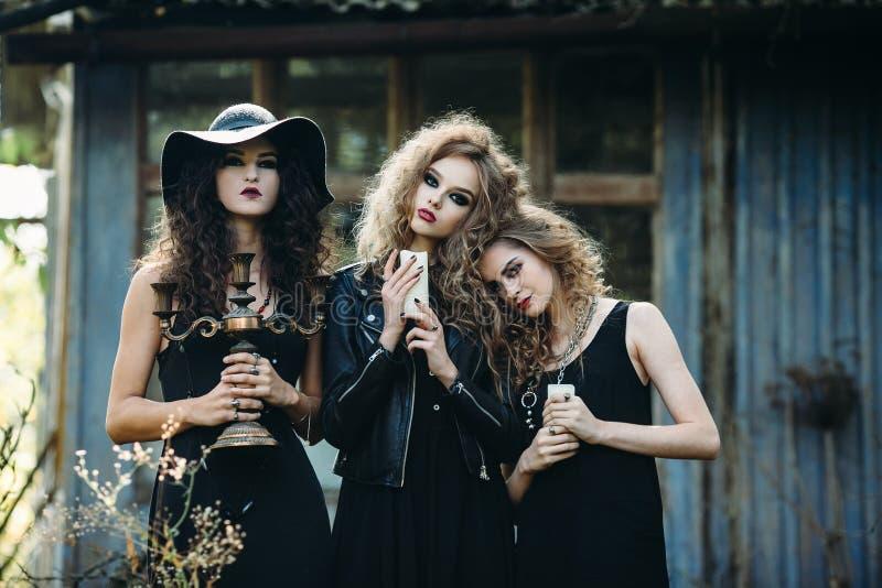 Drie uitstekende vrouwen als heksen stock fotografie