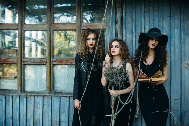 Drie uitstekende vrouwen als heksen royalty-vrije stock foto's