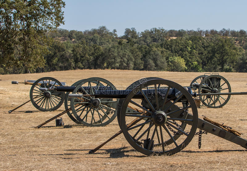 Drie Unie Legerkanonnen stock foto's
