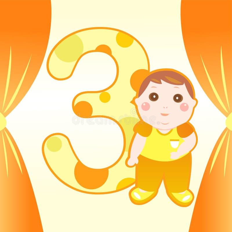 Drie van de oude babyjaar kaart vector illustratie
