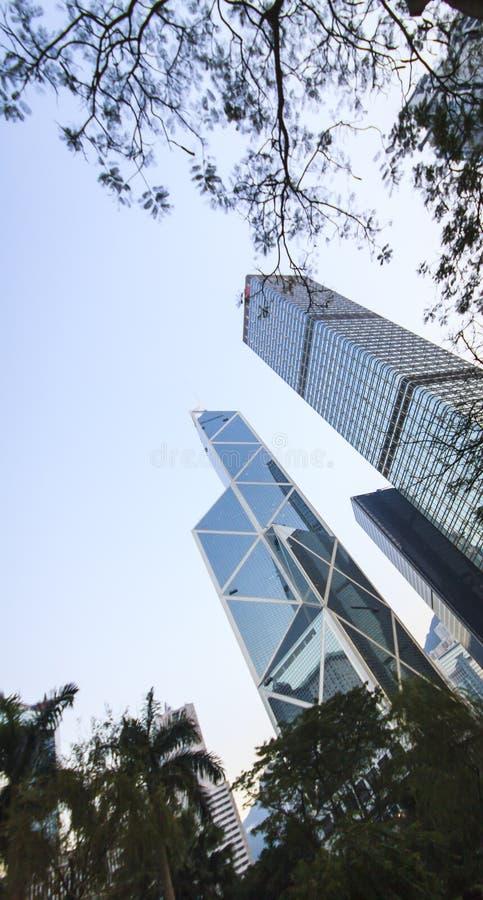 Drie van meest herkenbare hemelscrappers in Hong Kong. royalty-vrije stock afbeeldingen