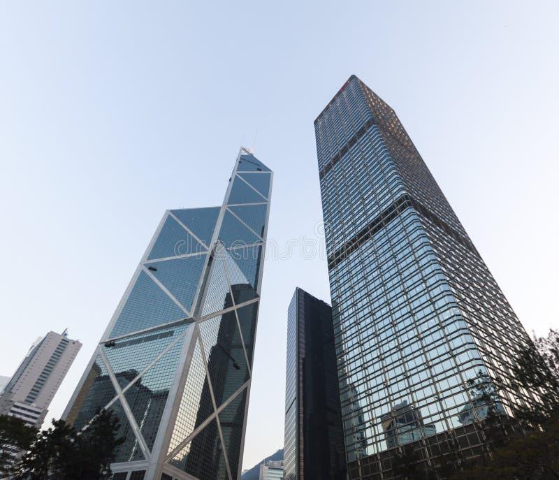 Drie van meest herkenbare hemelscrappers in Hong Kong. stock fotografie