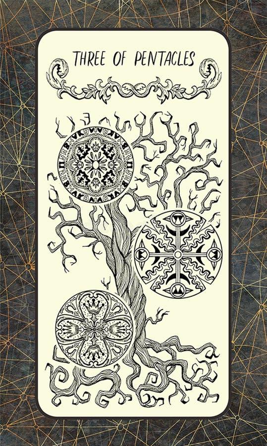 Drie van pentacles De Magische kaart van het Poorttarot stock illustratie