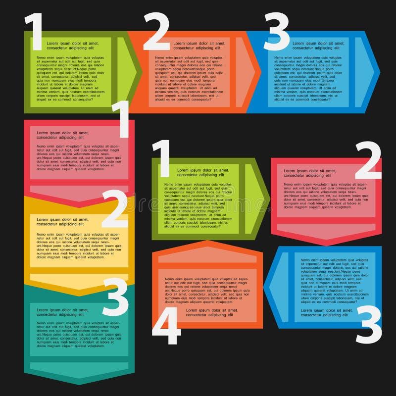 Drie varianten van opeenvolgende stappen voor infographics royalty-vrije illustratie