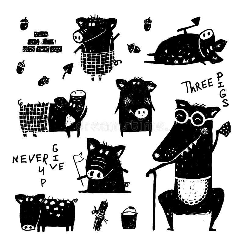 Drie varkens en wolfs grappig sprookje van het reeks zwart wit gekrabbel stock illustratie