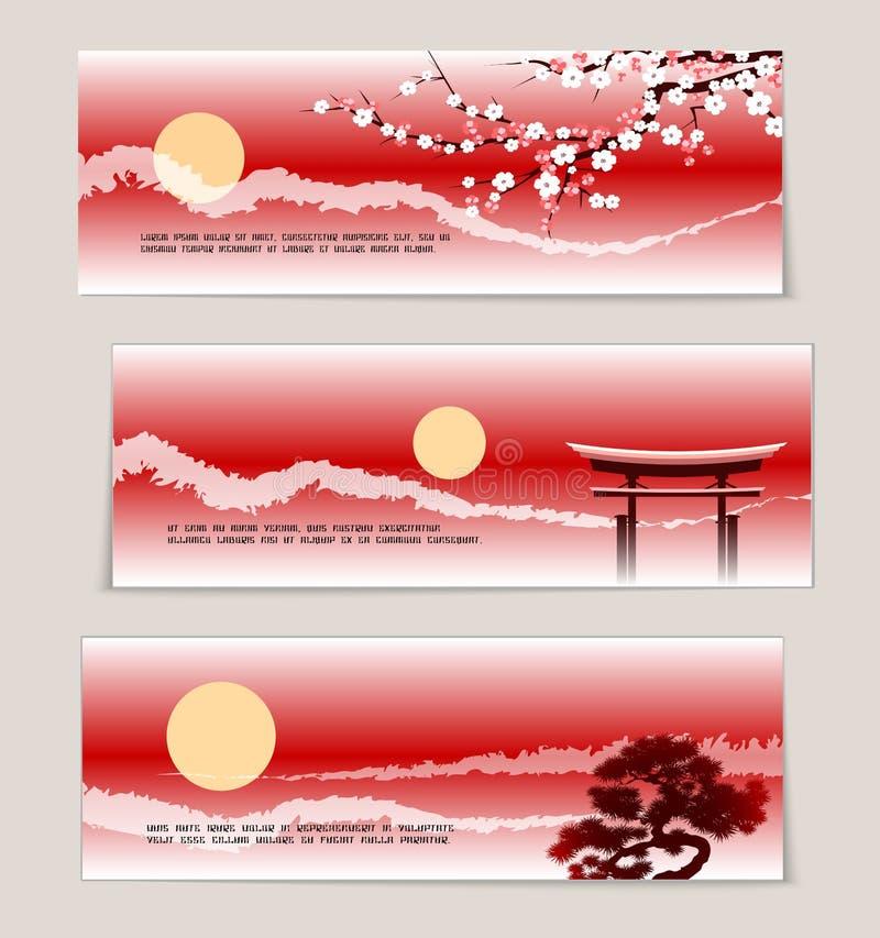 Drie vector Japanse landschapsbanners stock illustratie