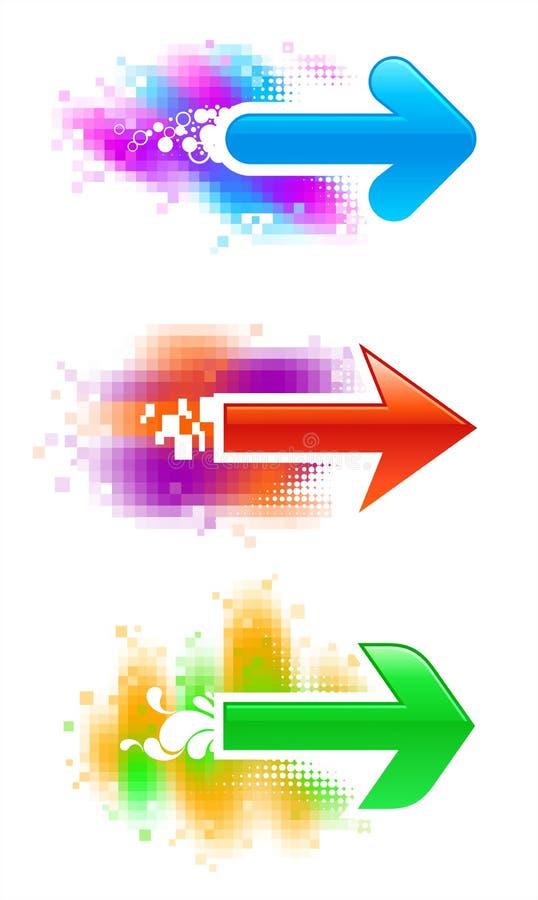 Drie vectorpijlen royalty-vrije illustratie