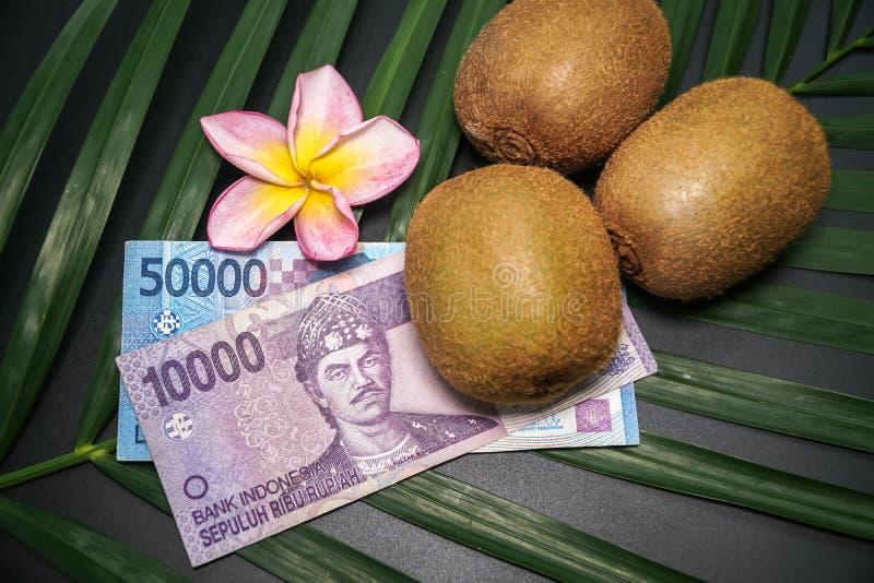 Drie Vers Ruw Exotisch Tropisch Kiwi Fruits riepen ook Chinese Gooseberrys met Indonesische Nationale valutaroepie stock afbeelding