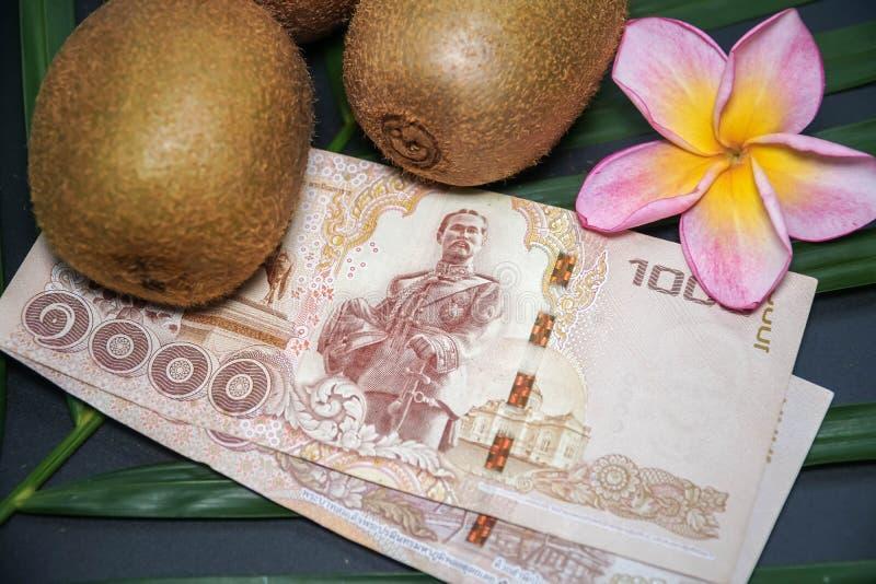 Drie Vers Ruw Exotisch Tropisch Kiwi Fruits riepen ook Chinese Gooseberrys met Thaise Nationale valutabaht stock foto's