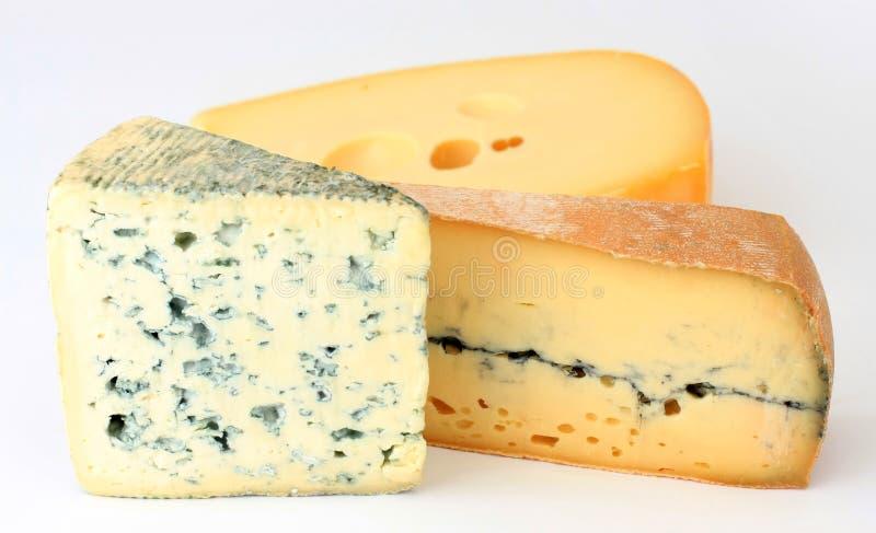 Drie verscheidenheden van Franse kaas royalty-vrije stock afbeeldingen