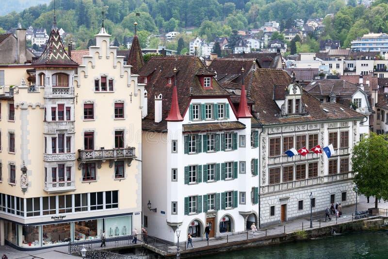 Drie verschillende historische gebouwen in Luzerne royalty-vrije stock fotografie