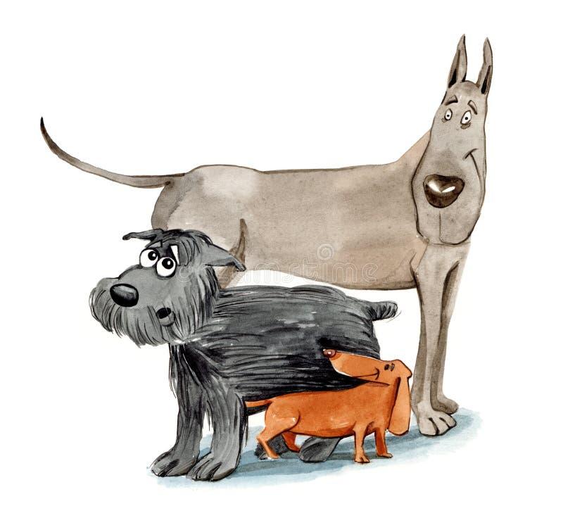 Drie verschillende honden vector illustratie