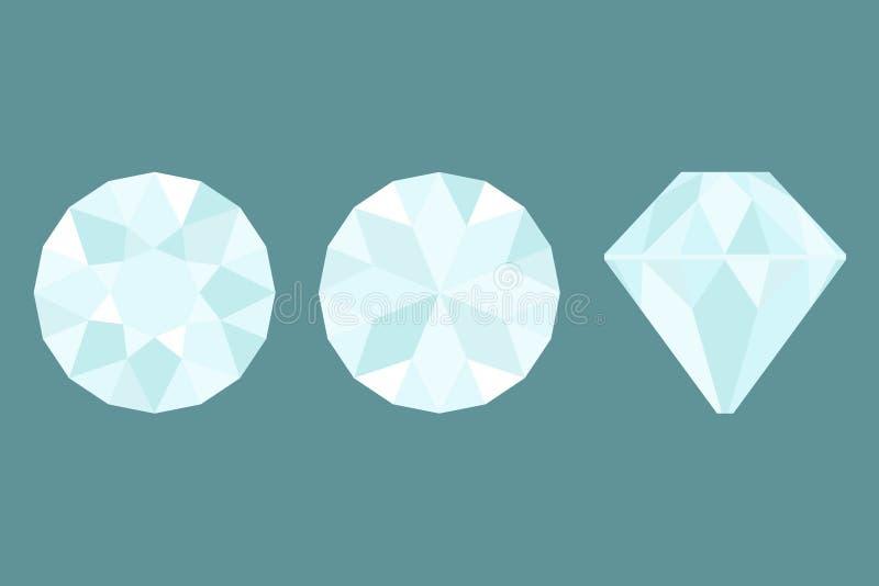 Drie Verschillende meningen van groot diamantknipsel, kant, bovenkant en BO vector illustratie