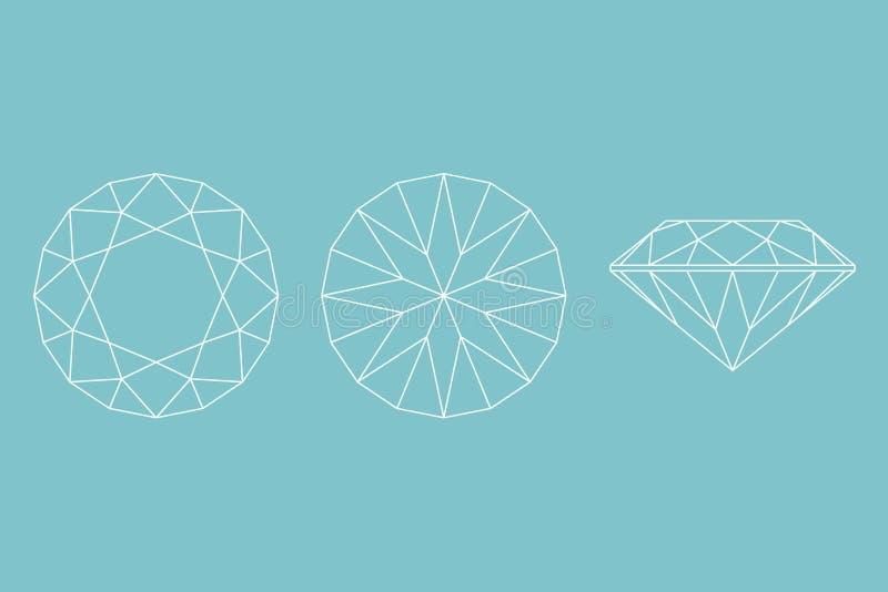 Drie Verschillende meningen van groot diamantknipsel, kant, bovenkant en BO royalty-vrije illustratie
