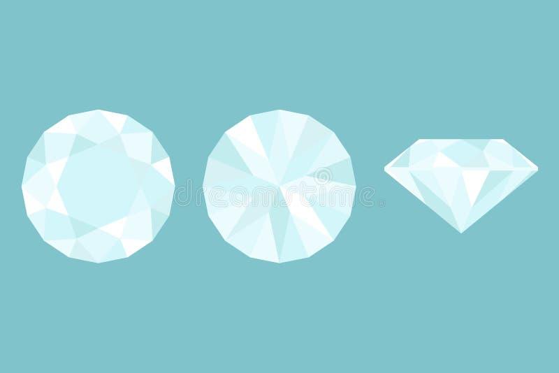 Drie Verschillende meningen van grote diamantbesnoeiing, kant, bovenkant en bodem stock illustratie