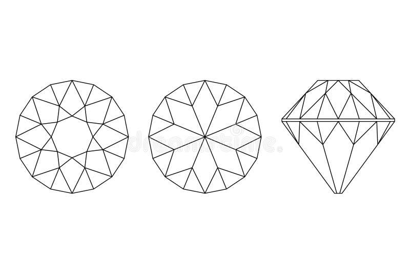 Drie Verschillende meningen van grote diamantbesnoeiingen, kant, bovenkant en botto stock illustratie