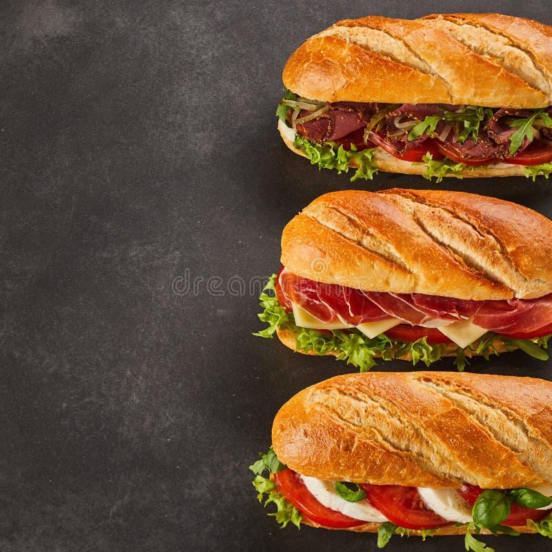 Drie verschillende types van gastronomische sandwiches royalty-vrije stock foto