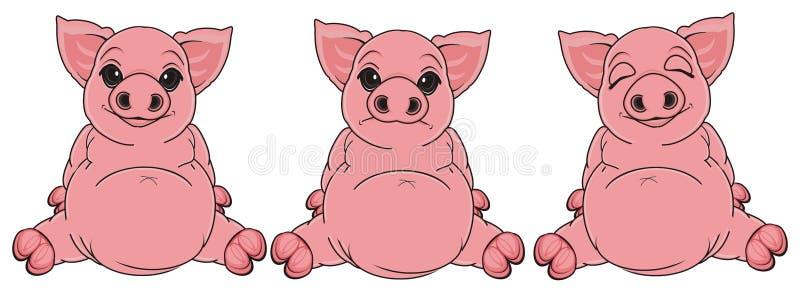 Drie verschillende varkens zit stock illustratie
