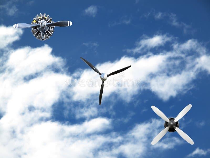Drie verschillende vliegtuigsteunen op hemelachtergrond stock foto's
