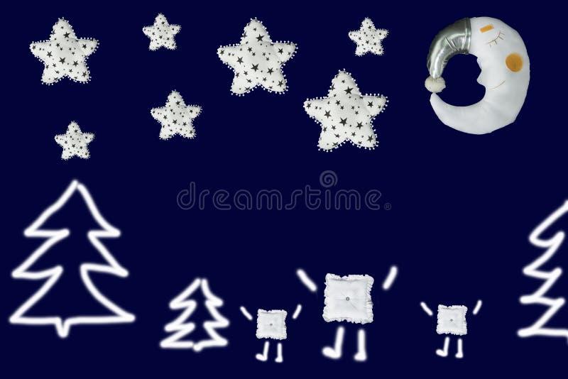 Drie vierkanten tussen sparren onder witte sterren en slaapmaan op marineblauwe achtergrond stock afbeelding