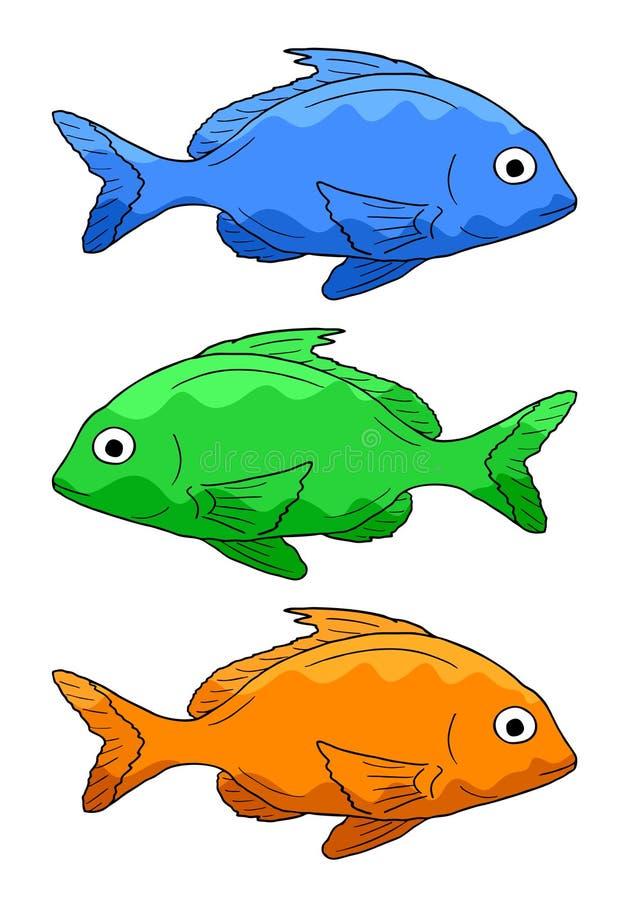 Drie vissen royalty-vrije illustratie