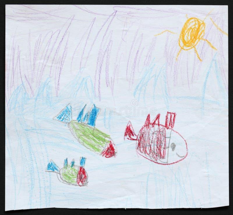 Drie Vissen in Blauwe Overzees De tekening van het kind stock illustratie