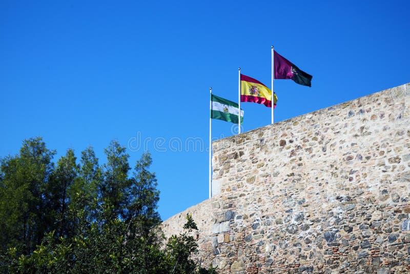 Drie vlaggen: Spanje, Andolusia en Malaga op de verdedigingsmuur van de vesting Arabische vesting Gibralfaro het Spaans Castillo  stock fotografie