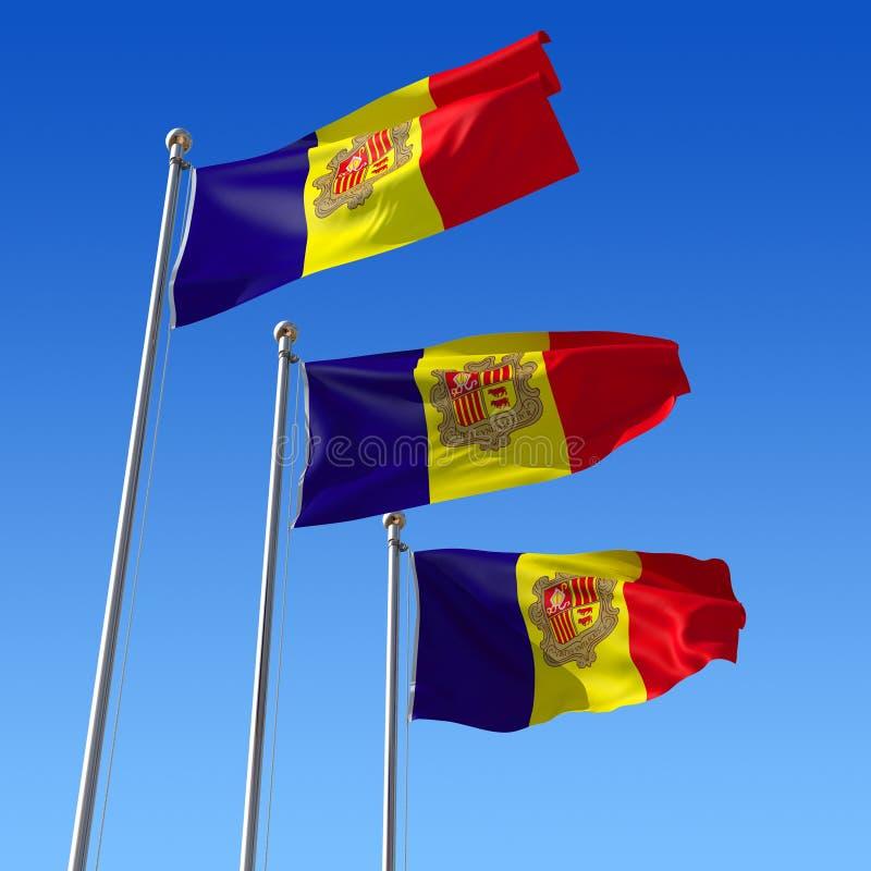 Drie vlaggen van Andorra tegen blauwe hemel. 3d IL royalty-vrije illustratie
